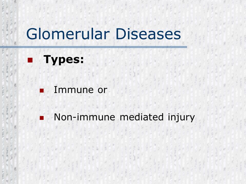 Glomerular Diseases Types: Immune or Non-immune mediated injury