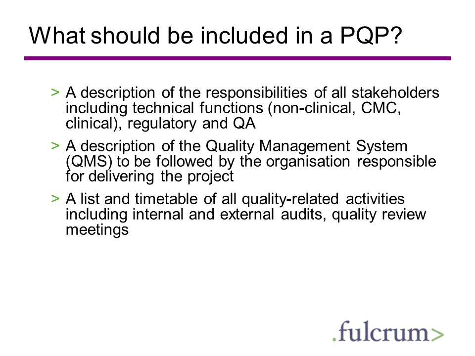 What should be included in a PQP