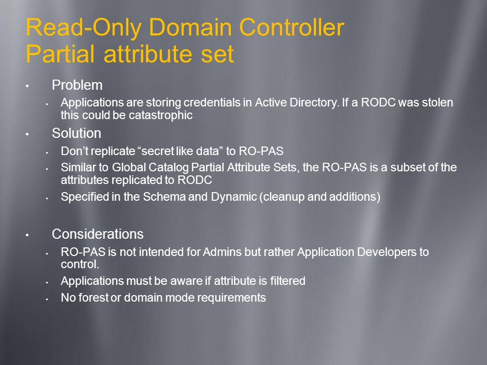 Read-Only Domain Controller Partial attribute set