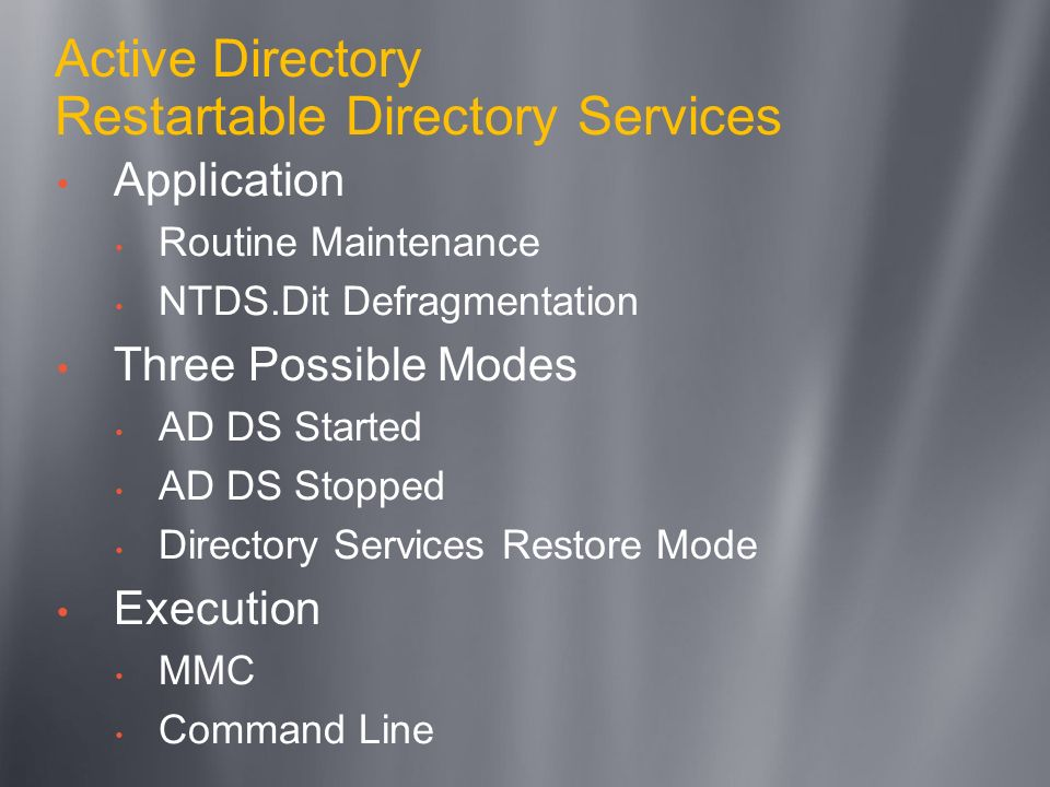 Active Directory Restartable Directory Services