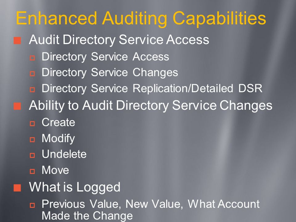 Enhanced Auditing Capabilities
