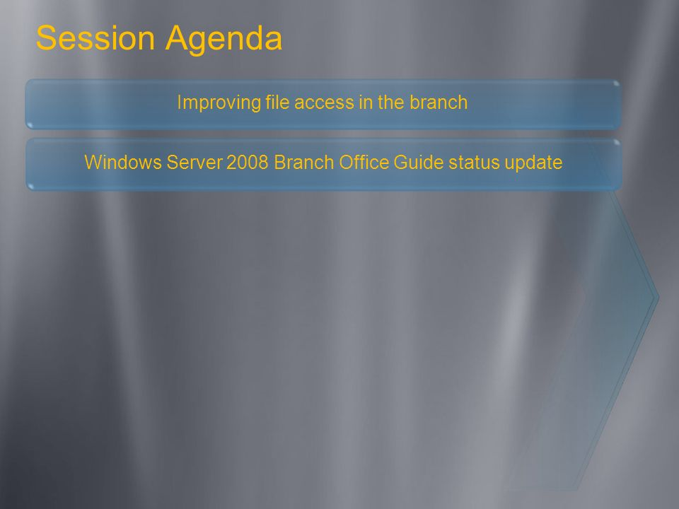 Session Agenda Improving file access in the branch