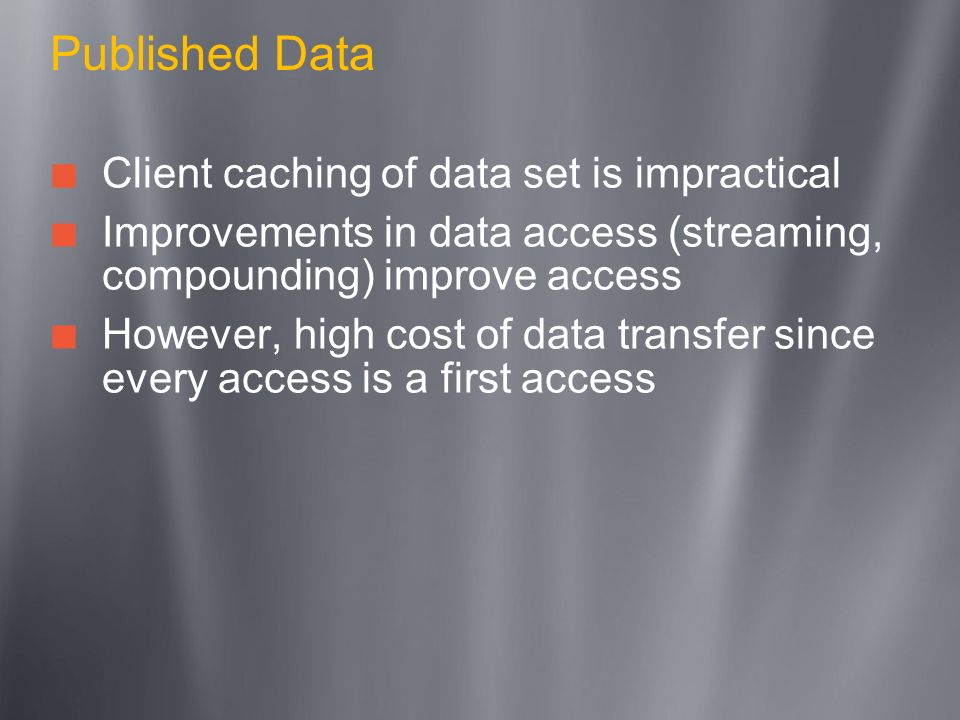 Published Data Client caching of data set is impractical