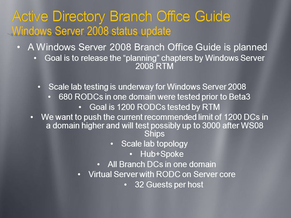 Active Directory Branch Office Guide