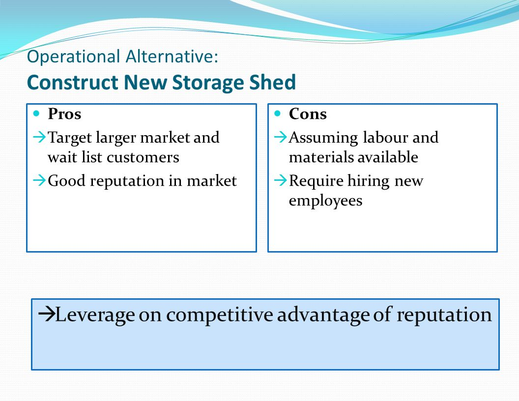 Operational Alternative: Construct New Storage Shed