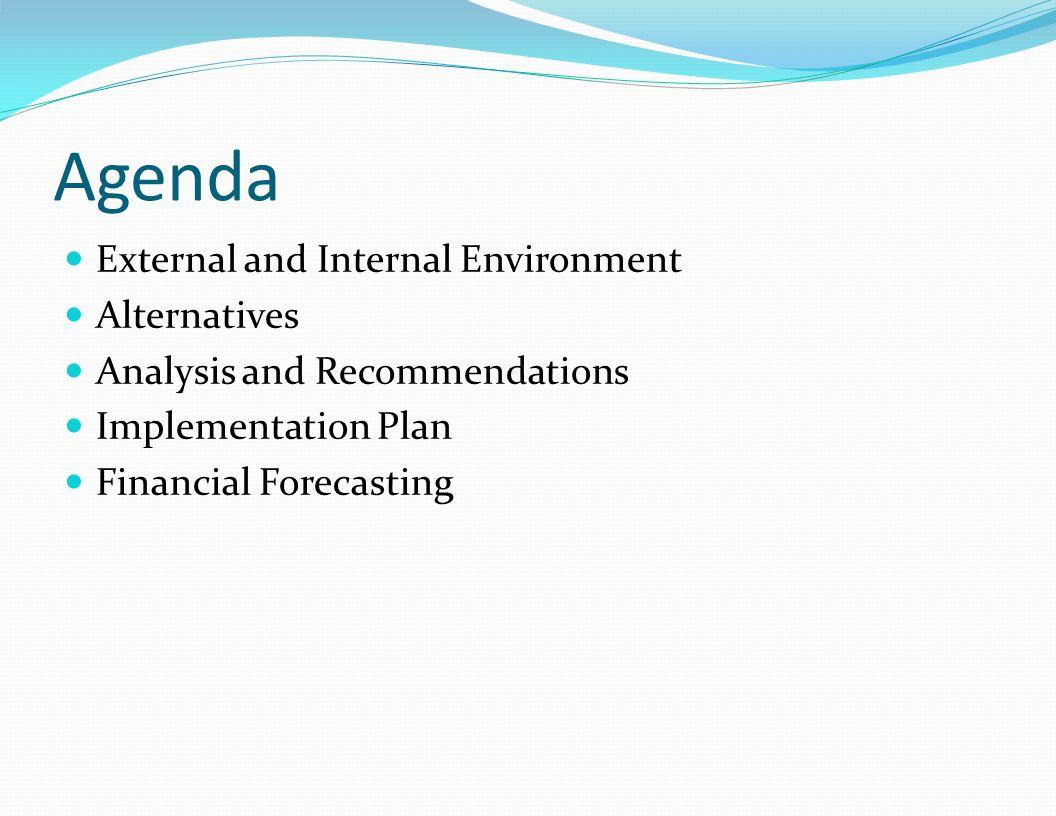 Agenda External and Internal Environment Alternatives