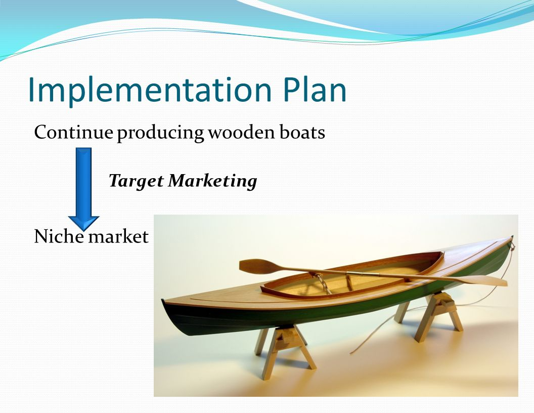 Implementation Plan Continue producing wooden boats Niche market