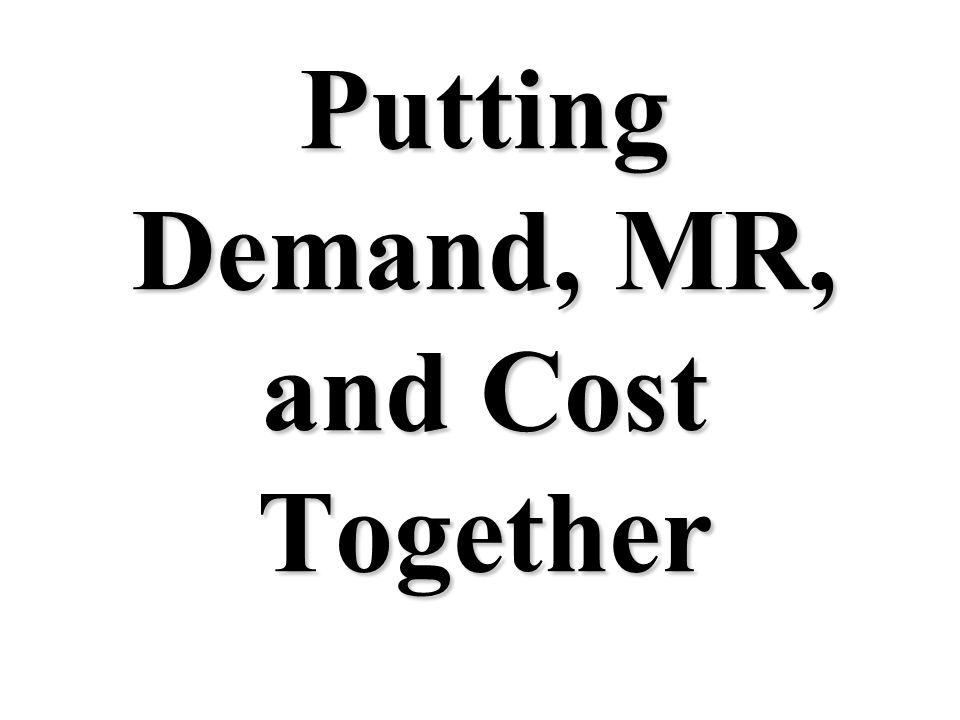 Putting Demand, MR, and Cost Together