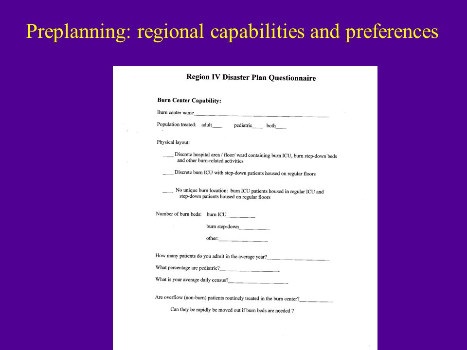 Preplanning: regional capabilities and preferences