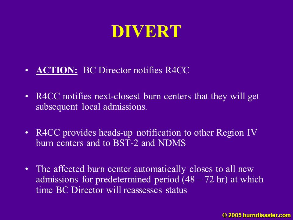 DIVERT ACTION: BC Director notifies R4CC