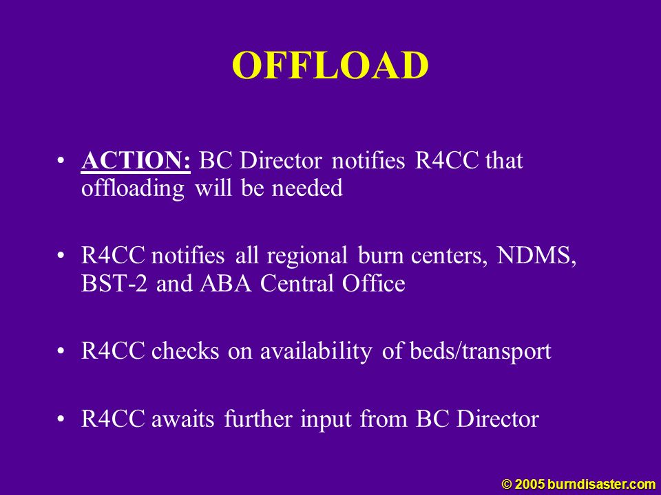 OFFLOAD ACTION: BC Director notifies R4CC that offloading will be needed.