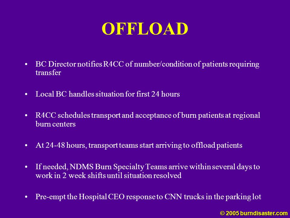 OFFLOAD BC Director notifies R4CC of number/condition of patients requiring transfer. Local BC handles situation for first 24 hours.