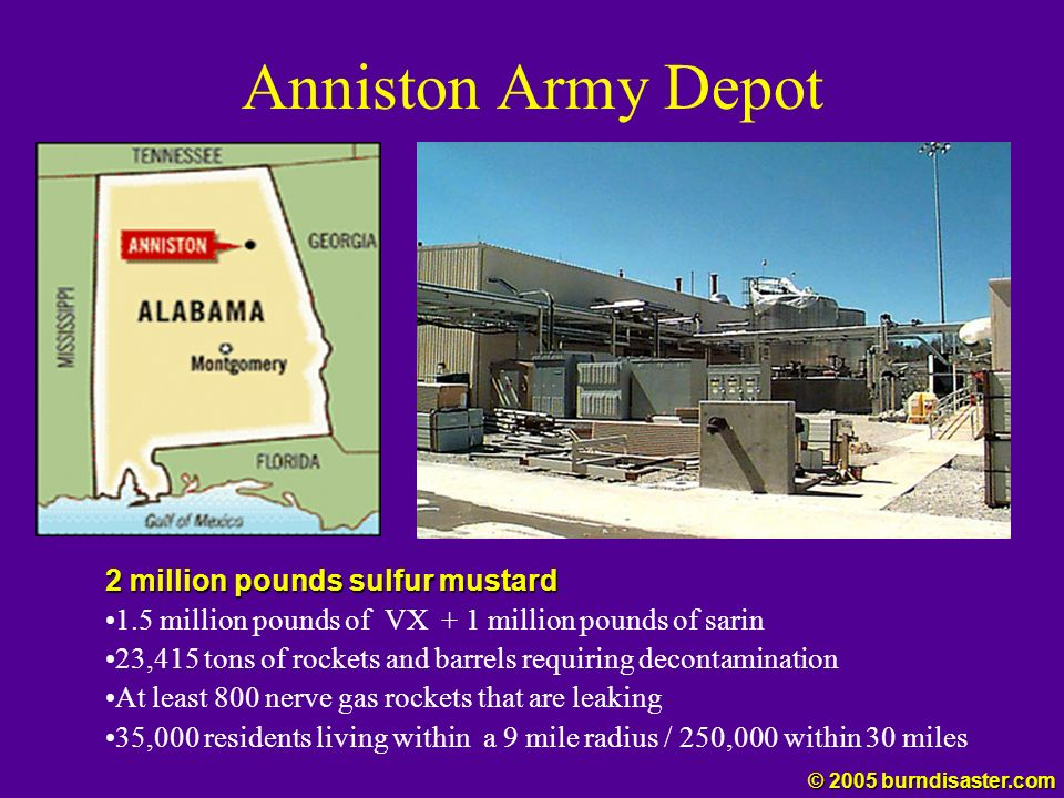 Anniston Army Depot 2 million pounds sulfur mustard