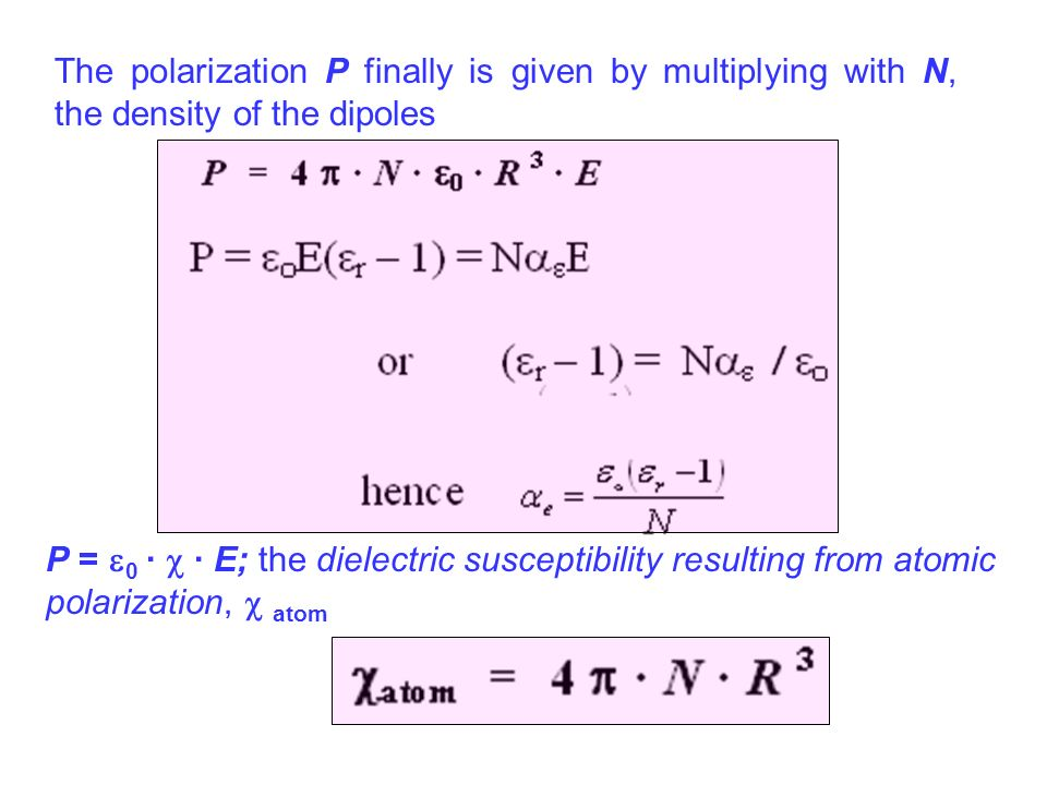 The polarization P finally is given by multiplying with N, the density of the dipoles