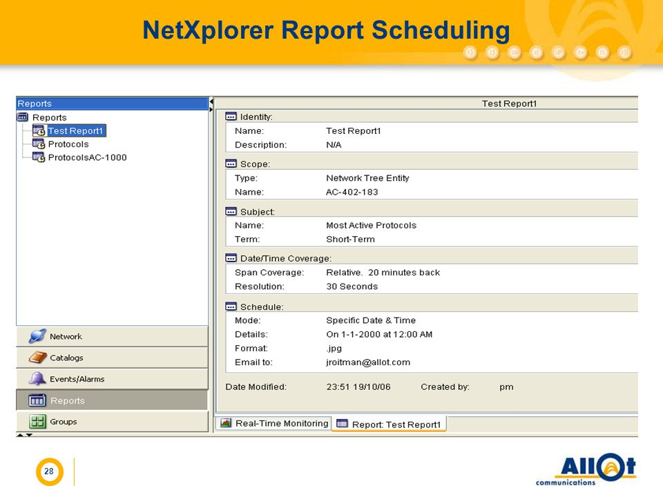 NetXplorer Report Scheduling