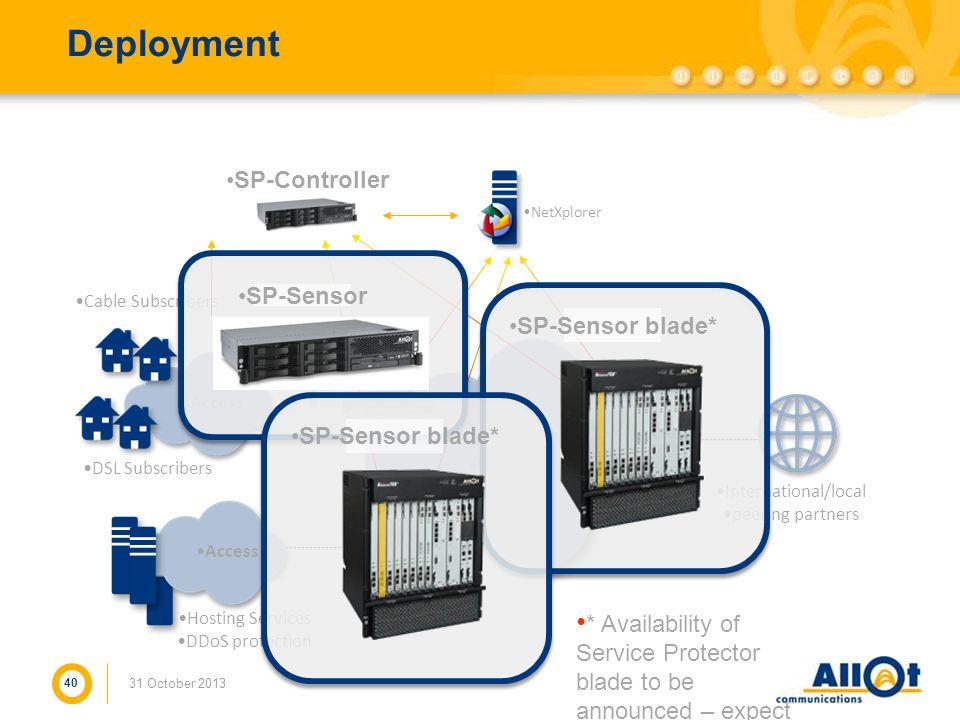 Deployment SP-Controller SP-Sensor SP-Sensor blade* SP-Sensor