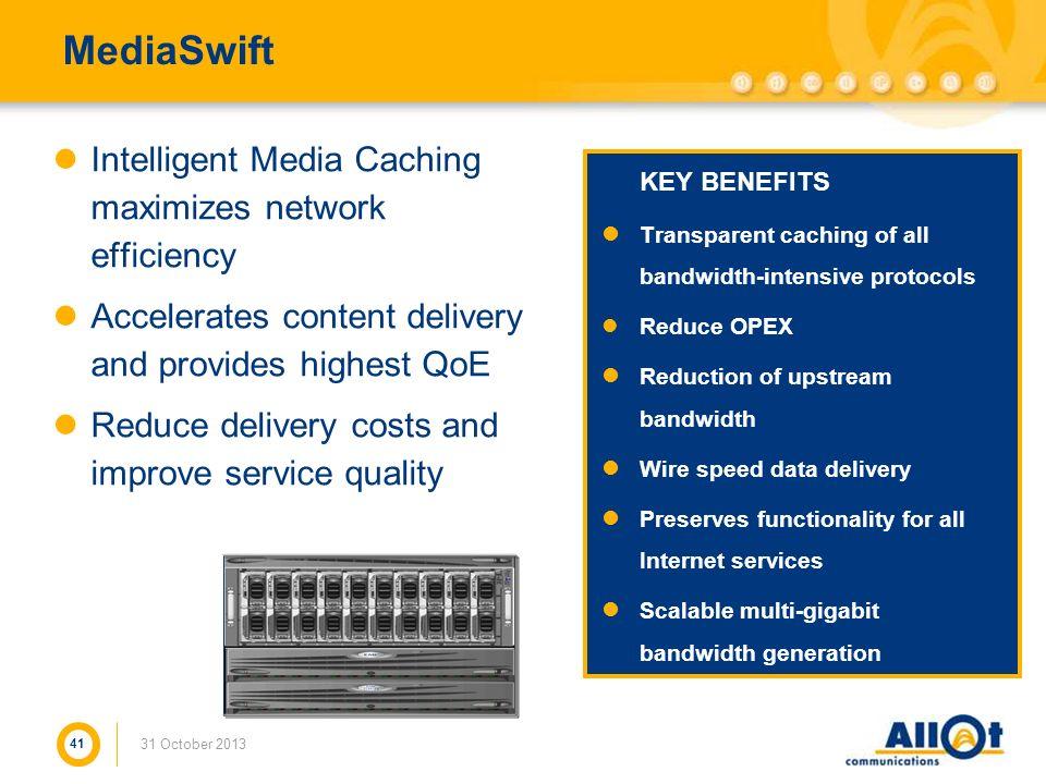 MediaSwift Intelligent Media Caching maximizes network efficiency