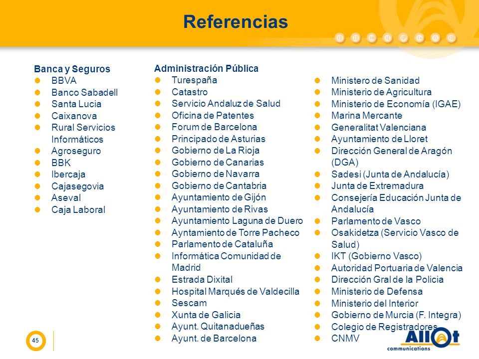 Referencias Banca y Seguros BBVA Banco Sabadell Santa Lucia Caixanova