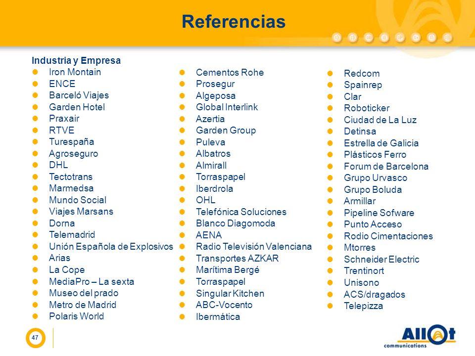 Referencias Industria y Empresa Iron Montain ENCE Barceló Viajes