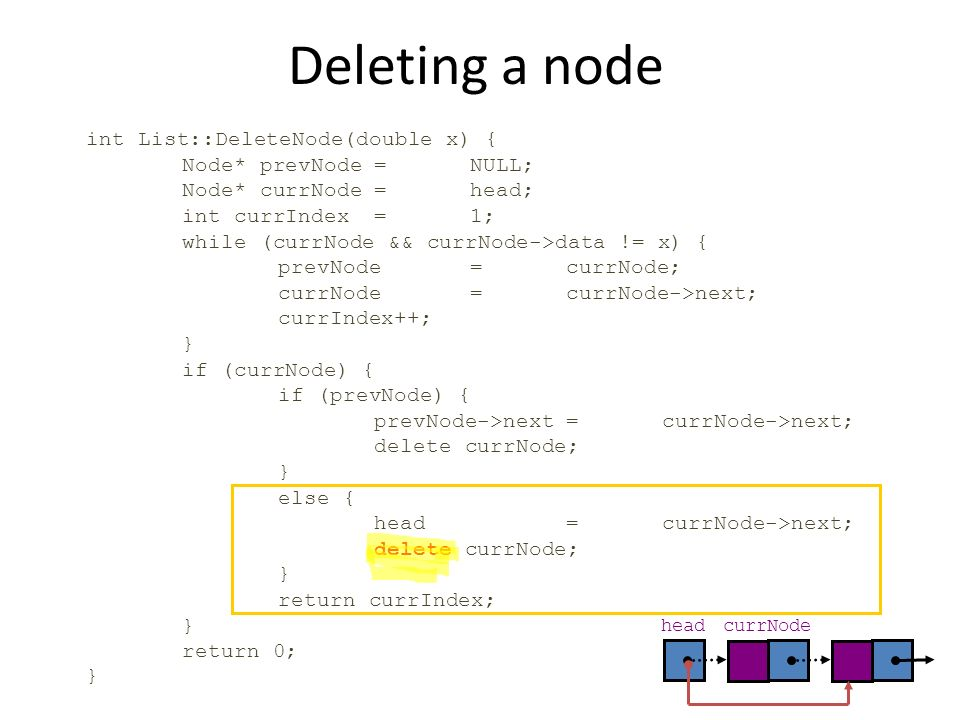 Deleting a node int List::DeleteNode(double x) {