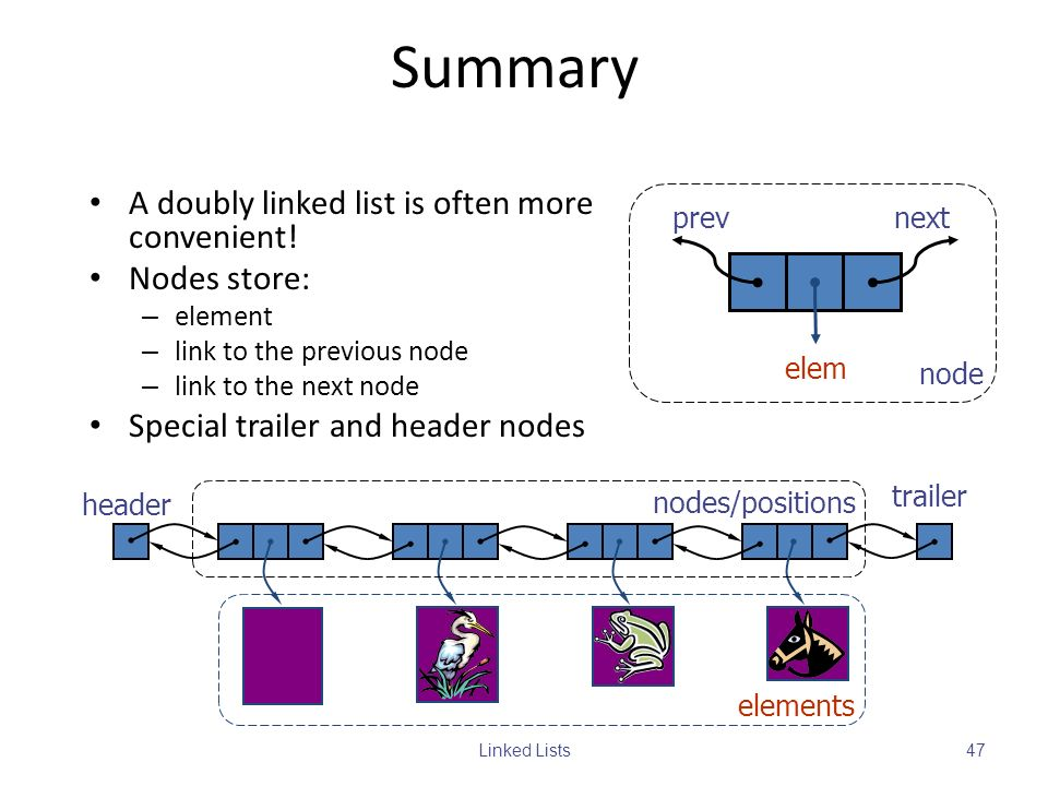 Summary A doubly linked list is often more convenient! Nodes store: