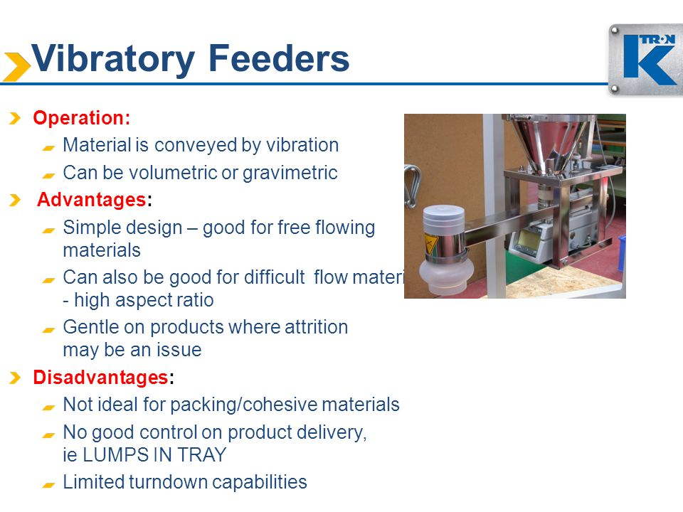 Vibratory Feeders Operation: Material is conveyed by vibration