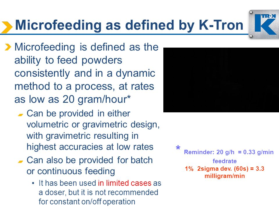 Microfeeding as defined by K-Tron