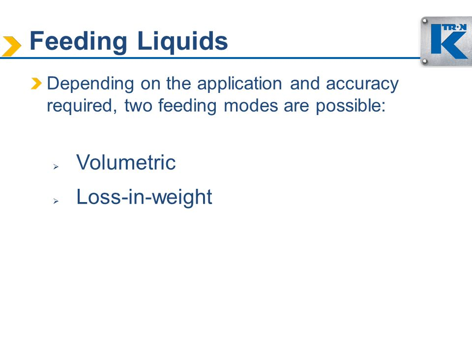 Feeding Liquids Volumetric Loss-in-weight