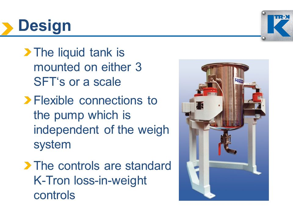 Design The liquid tank is mounted on either 3 SFT's or a scale