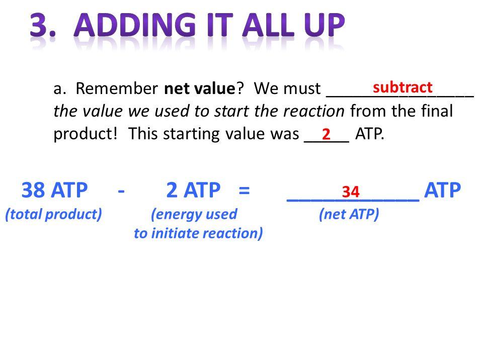 38 ATP - 2 ATP = ___________ ATP