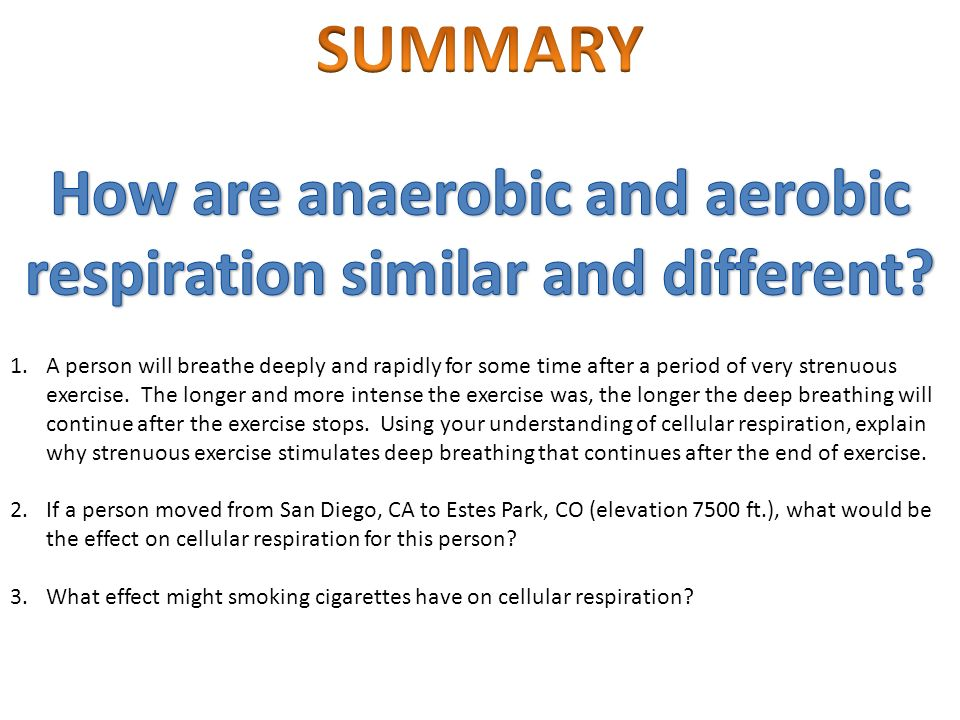 How are anaerobic and aerobic respiration similar and different