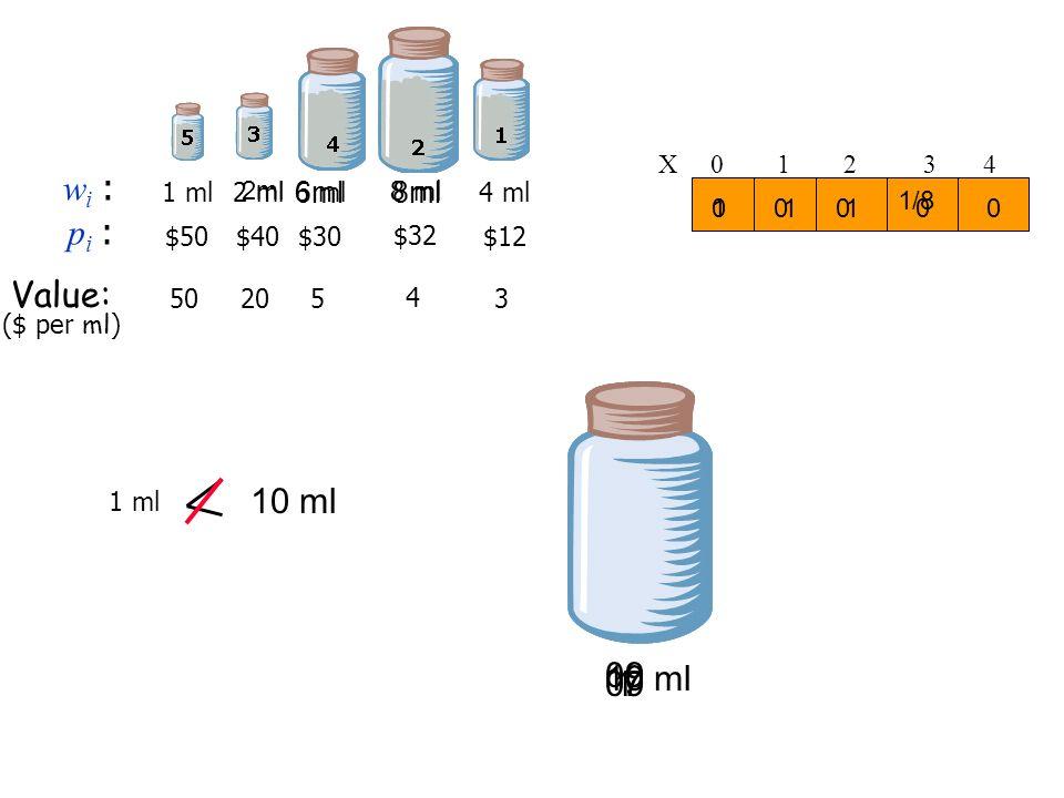 10 ml 10 ml wi : pi : Value: 09 09 1 7 6ml 8ml X 0 1 2 3 4 1 ml 2 ml