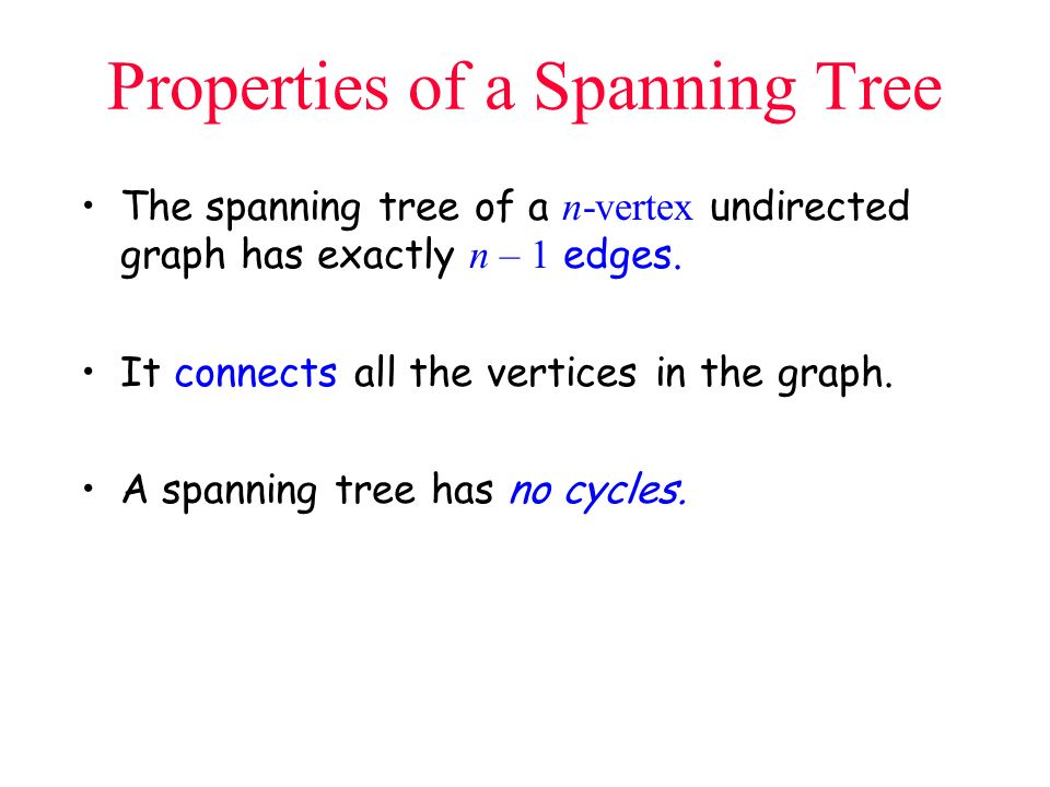 Properties of a Spanning Tree