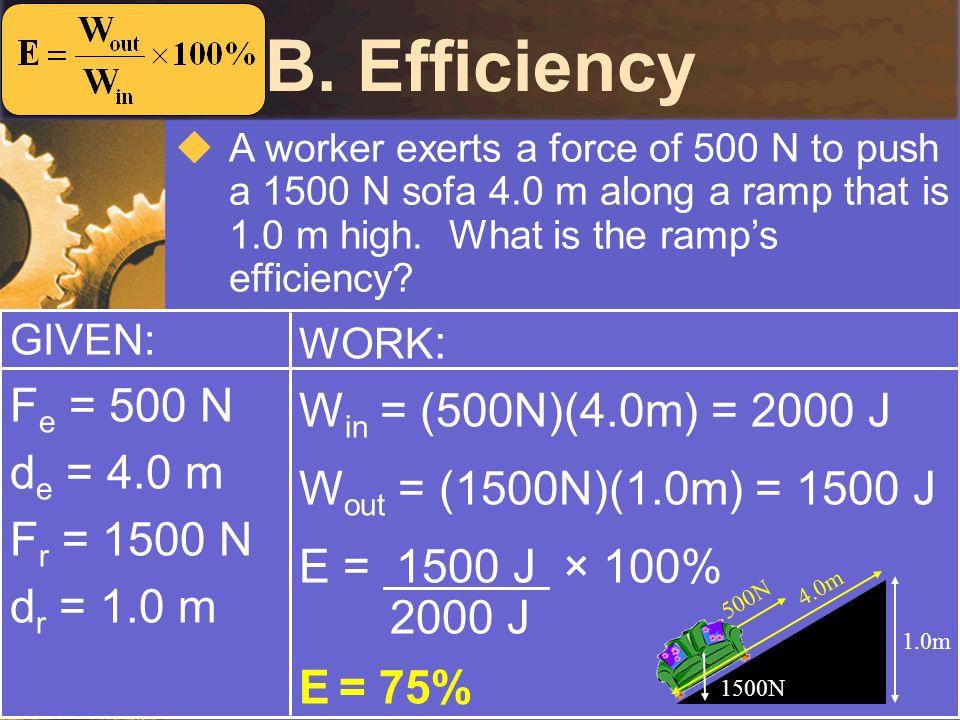 B. Efficiency Fe = 500 N Win = (500N)(4.0m) = 2000 J de = 4.0 m