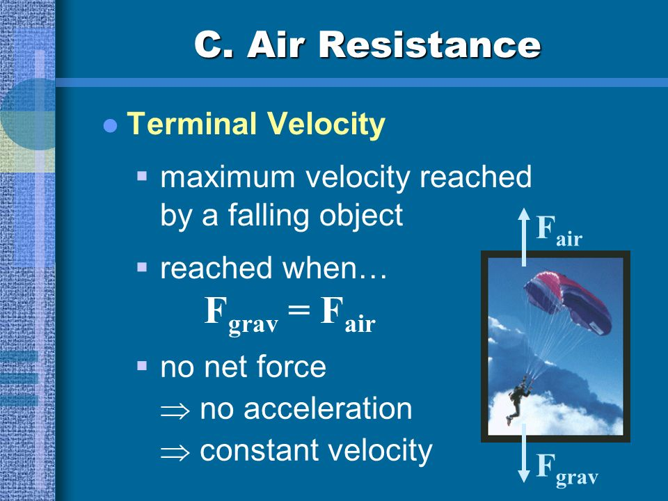 C. Air Resistance Fair Fgrav Terminal Velocity
