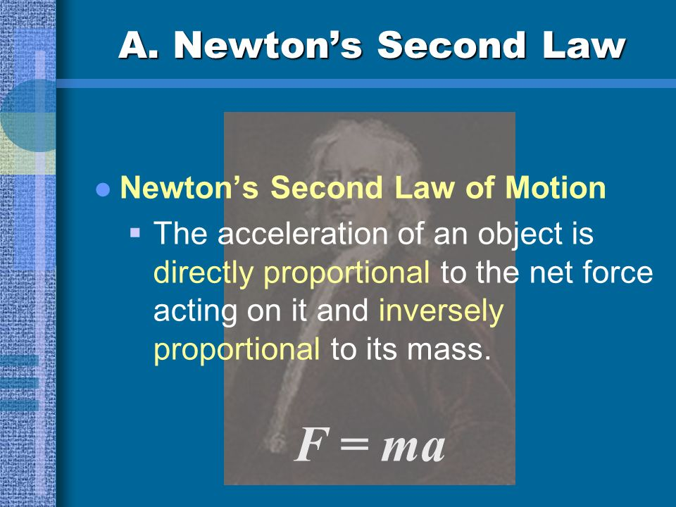 F = ma A. Newton's Second Law Newton's Second Law of Motion