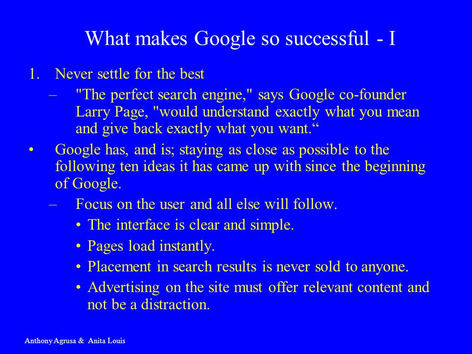 What makes Google so successful - I