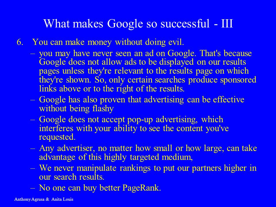What makes Google so successful - III
