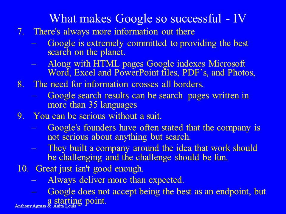 What makes Google so successful - IV