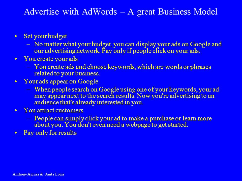 Advertise with AdWords – A great Business Model