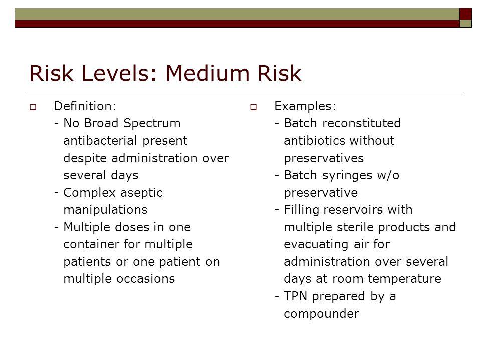 Risk Levels: Medium Risk
