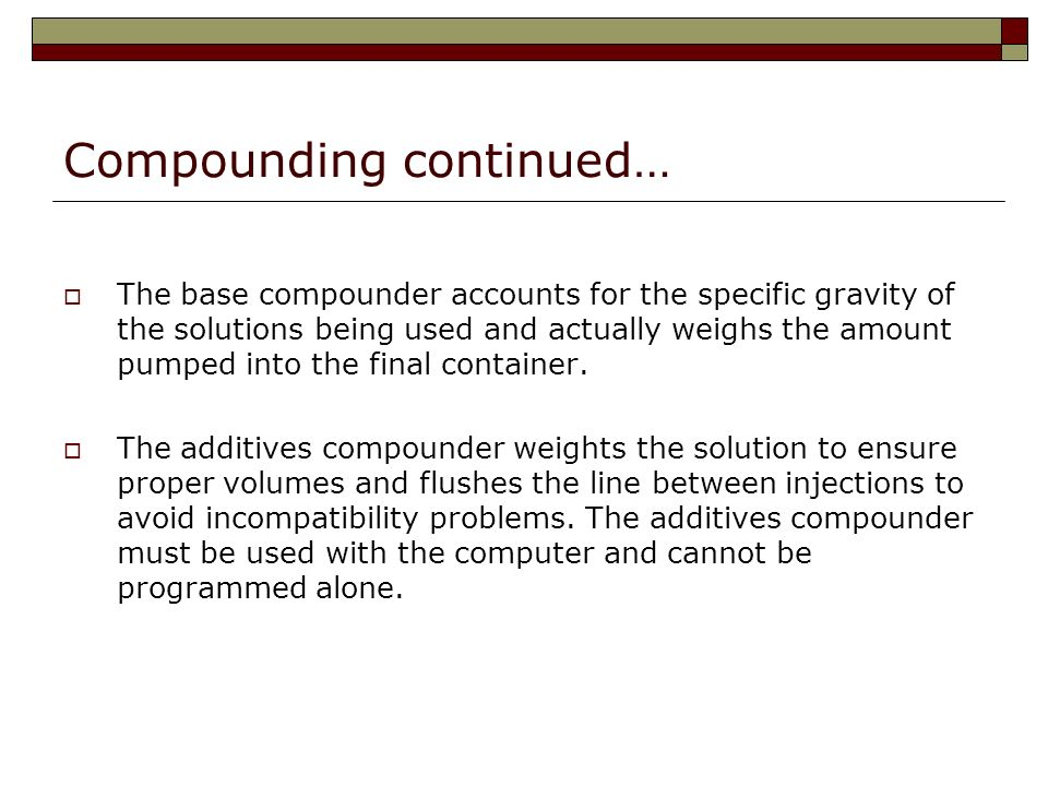 Compounding continued…