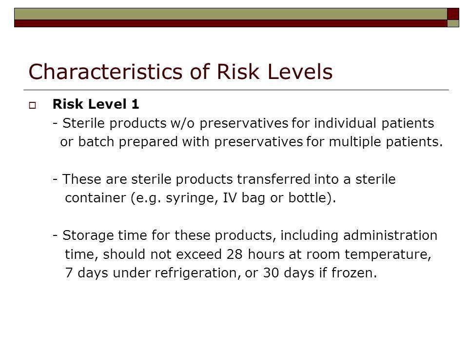 Characteristics of Risk Levels