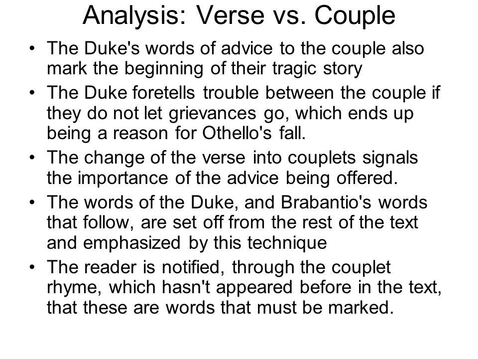 Analysis: Verse vs. Couple