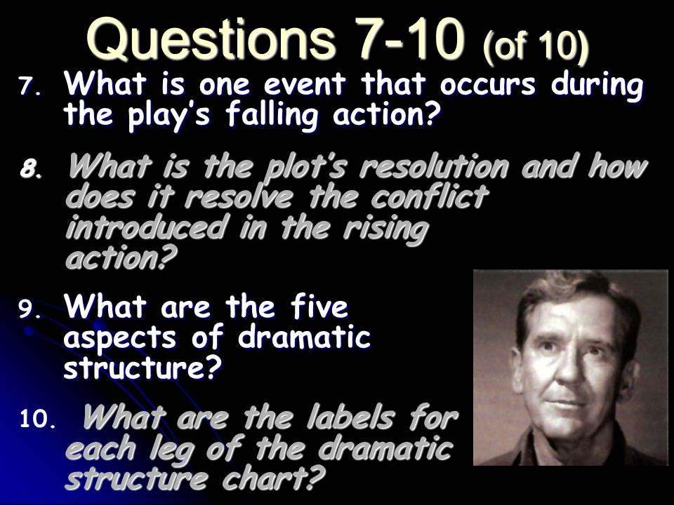 Questions 7-10 (of 10) What is one event that occurs during the play's falling action