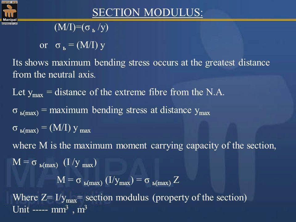 SECTION MODULUS: (M/I)=(σ ь /y) or σ ь = (M/I) y