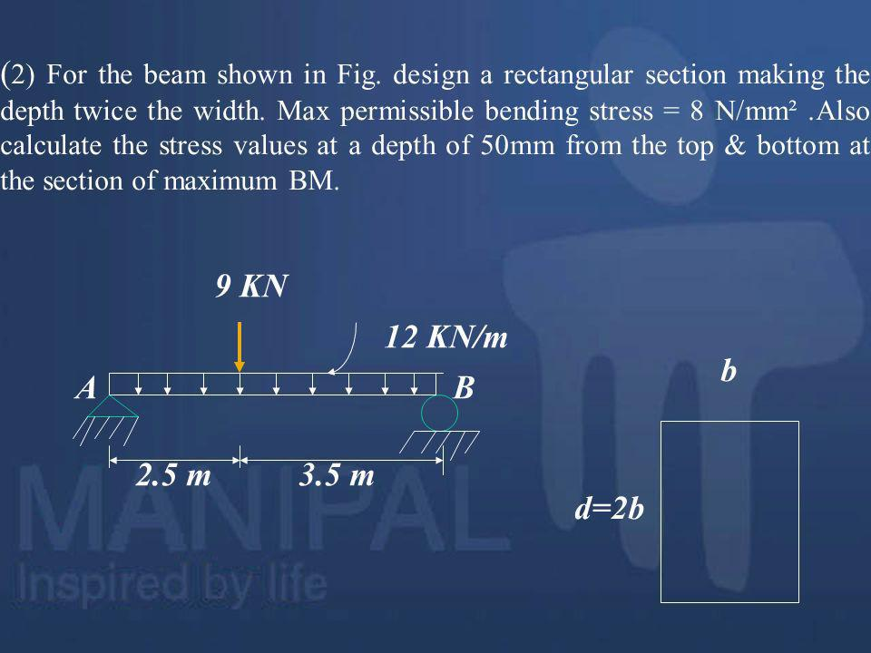 (2) For the beam shown in Fig