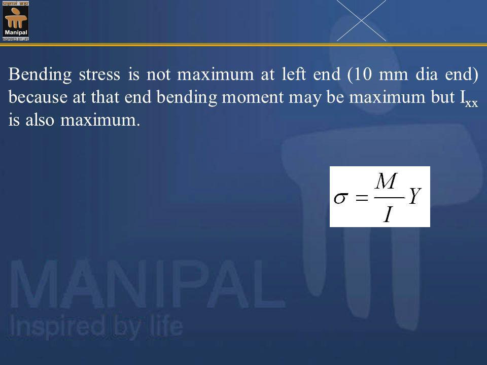 Bending stress is not maximum at left end (10 mm dia end) because at that end bending moment may be maximum but Ixx is also maximum.