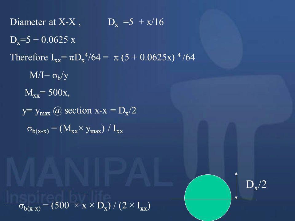 σb(x-x) = (500 × x × Dx) / (2 × Ixx)