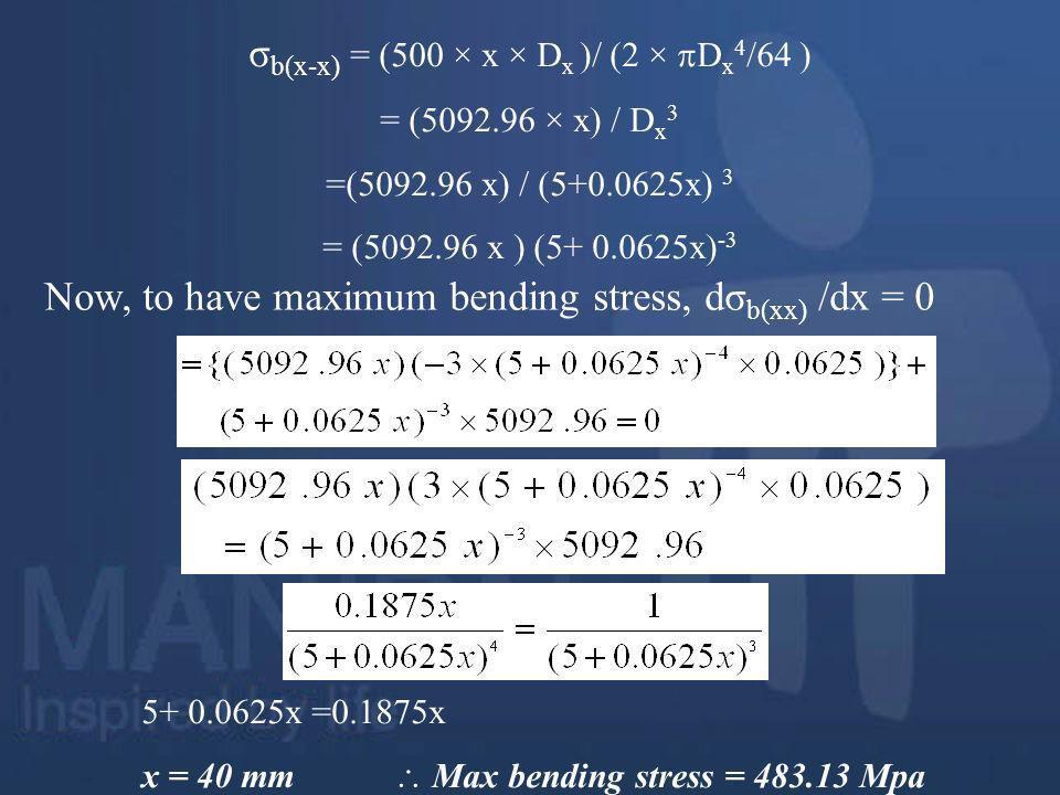 σb(x-x) = (500 × x × Dx )/ (2 × Dx4/64 )